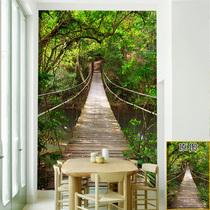 定制吊桥3D视觉延伸墙贴画 装饰玻璃膜 商场饭店隔断墙书房门贴纸
