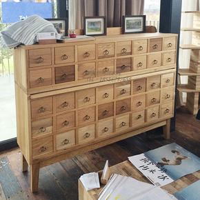 美式现代纯实木橡木多斗柜法式复古多抽屉储物柜餐边柜设计师家具