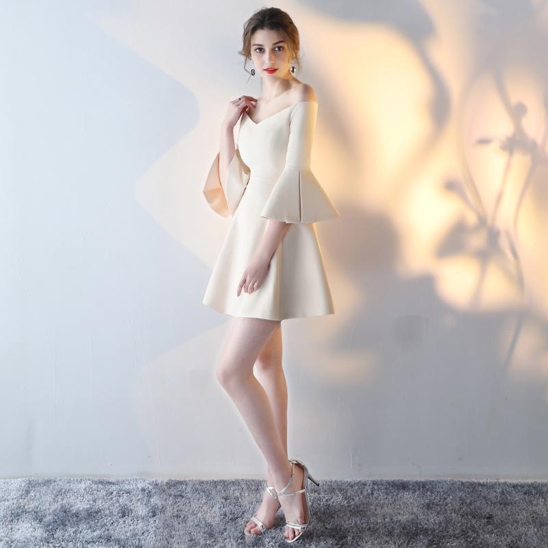 晚礼服2017新款短款一字肩宴会学生派对伴娘服女聚会显瘦连衣裙夏1元优惠券