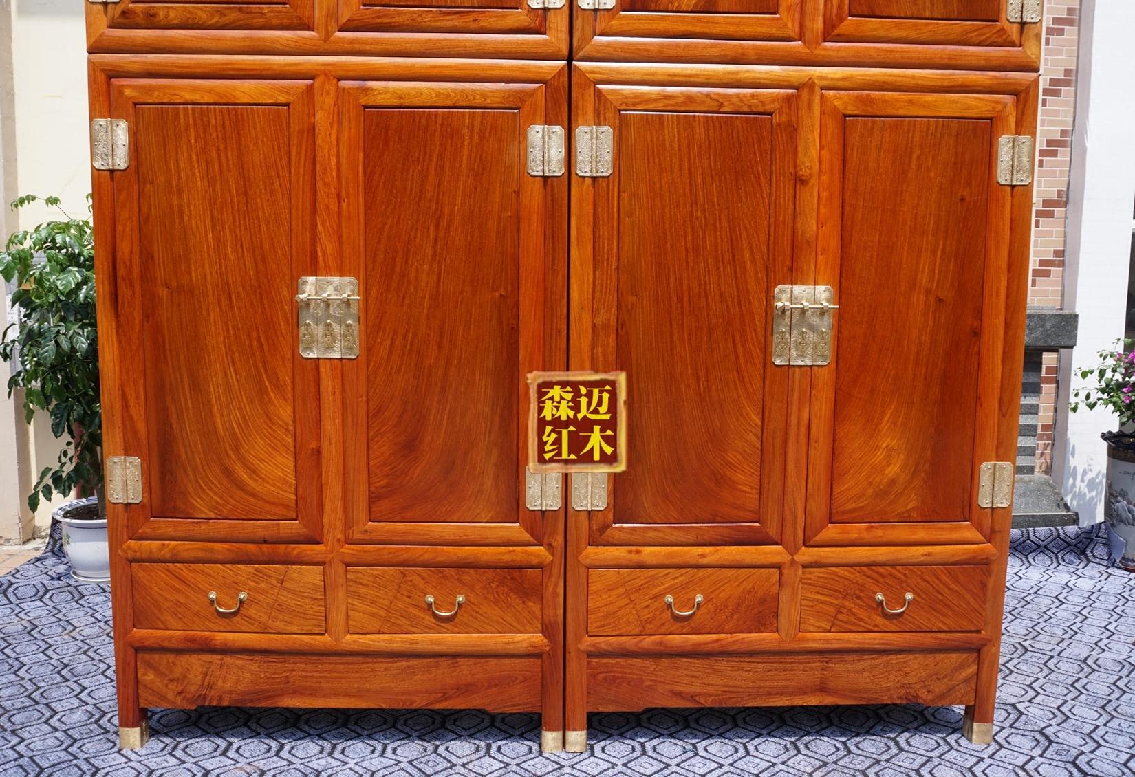 缅甸花梨红木顶箱柜 大果紫檀红木衣柜 加厚实木衣柜 红木顶箱柜