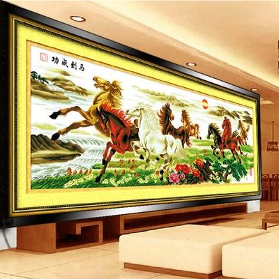 蒙娜丽莎印花十字绣2.5米马到成功客厅八马图新款八骏全图大幅画