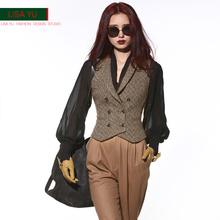 LISA YU retro double-breasted body-building waistcoat with waistcoat for autumn and winter leisure