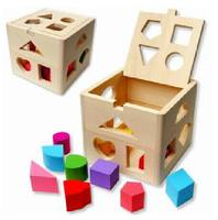 Montessori early teaching aids 1-2-3 years old children pairing blocks 13 holes geometric intelligence shape box wooden toys