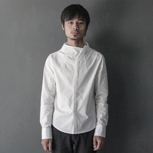 XIACHI White Shirt, Long Sleeve Men's Shirt, Vertical Collar, Pure Cotton Self-cultivation, Japanese Retro Autumn Fashion Original Designer