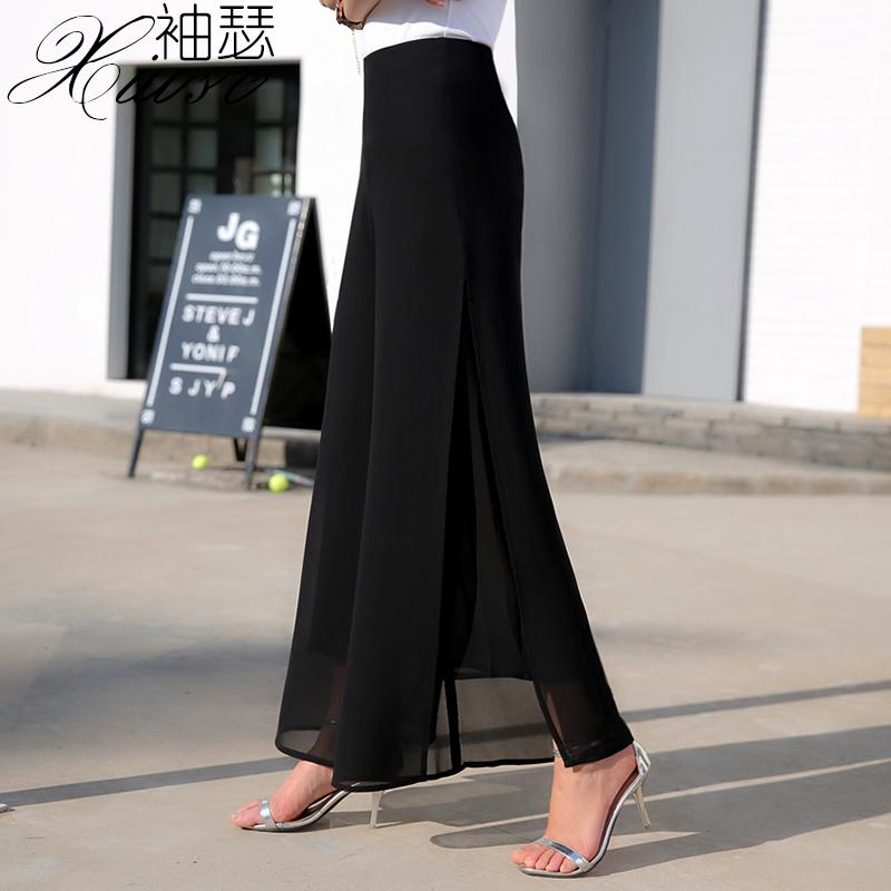 高腰雪纺长裙裤