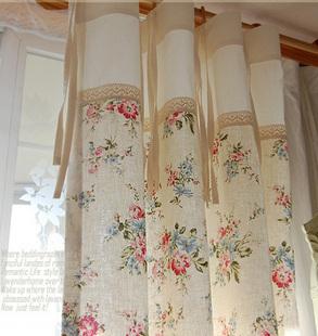 韩国进口春日乡村的花园米色花朵碎花玫瑰棉蕾丝边拼接裙摆窗帘