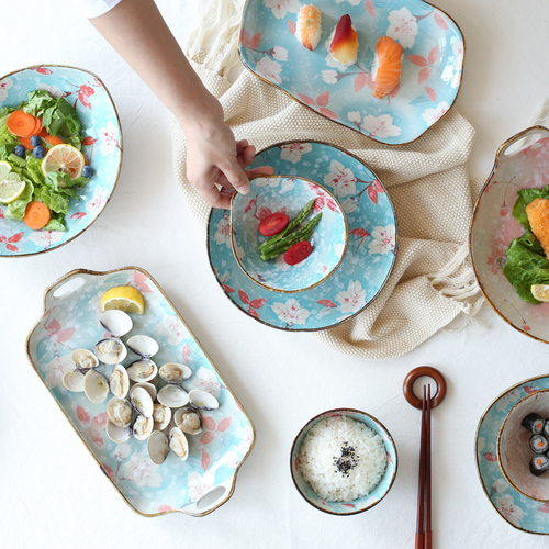 川岛屋 花季日式手绘陶瓷餐具饭碗汤碗面碗寿司盘鱼盘菜盘PZ-125