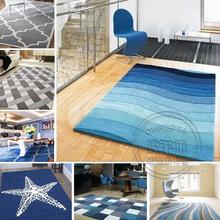 地中海风格条纹地毯客厅沙发茶几北欧现代家用卧室长方形蓝色百搭