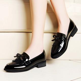 小皮鞋女英伦学院风潮粗跟浅口单鞋2016新款中跟女鞋黑色春秋鞋子