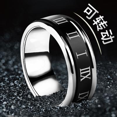 戒指男 钛钢个性 罗马数字单身 刻字 男士 欧美时尚 食指环潮人戒子