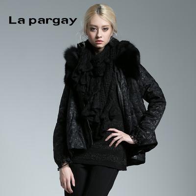 纳帕佳 新品秋冬新款 欧美植绒豹纹两件套长袖中长款棉衣棉服女