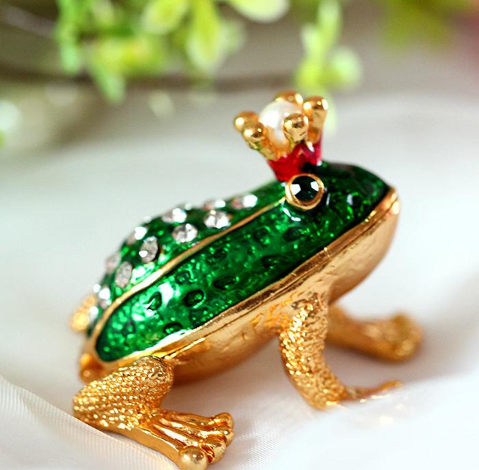 青蛙王子 摆件 盒金首饰盒 珠宝盒 珐琅礼品