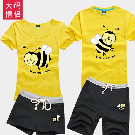 夏韩版修身短袖低领女装t恤小蜜蜂甜蜜蜜印花纯棉打底衫情侣套装商品大图