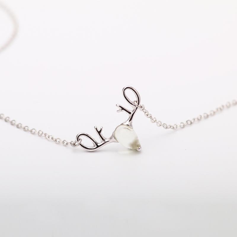 原创一路有你S925纯银麋鹿项链女简约月光石锁骨链韩版森系饰品