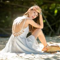 或许复古度假风沙滩裙性感露背连衣裙夏季海边