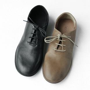 舒適推薦 柔軟輕便 做舊頭層牛皮系帶低幫鞋男復古潮流休閑單鞋