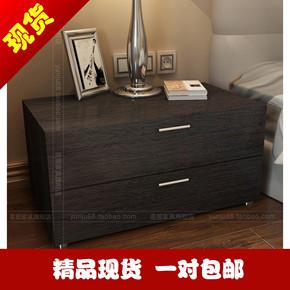 黑橡木床边柜简约现代榻榻米床头柜白色钢琴烤漆斗柜定做
