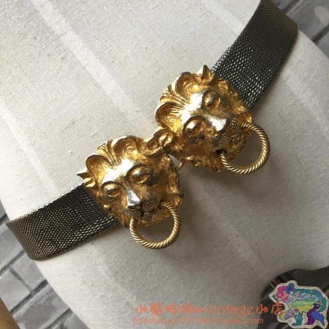 金色门环狮子头幻彩仿蜥蜴皮带身腰带。vintage。美国。现货