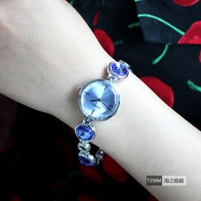 手表女韩版潮流水晶手表石英表韩国女生时尚学生小清新手链表