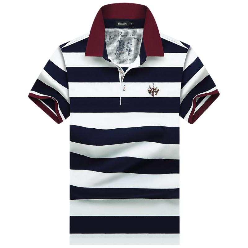 伯思凯 夏装男士短袖T恤 商务男装条纹男T恤衫 POLO衬衫领