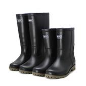 黑色劳保水靴防滑防水男女胶鞋 套鞋 男中筒雨靴高筒水鞋 回力雨鞋