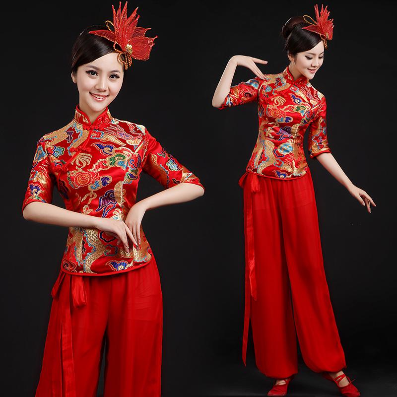 中国风舞蹈服女广场舞演出服 腰鼓扇子舞旗袍服装 秧歌服2017新款