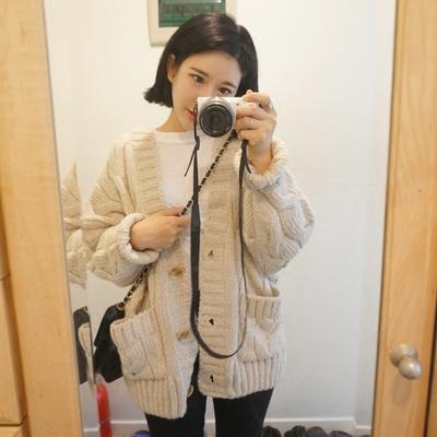 18春季韩国新款蝙蝠袖宽松复古麻花短款粗毛线开衫毛衣针织外套女