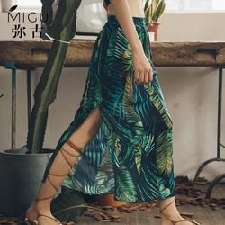 弥古裙子女夏半身裙波西米亚长裙开叉印花海边度假沙滩裙旅游女装