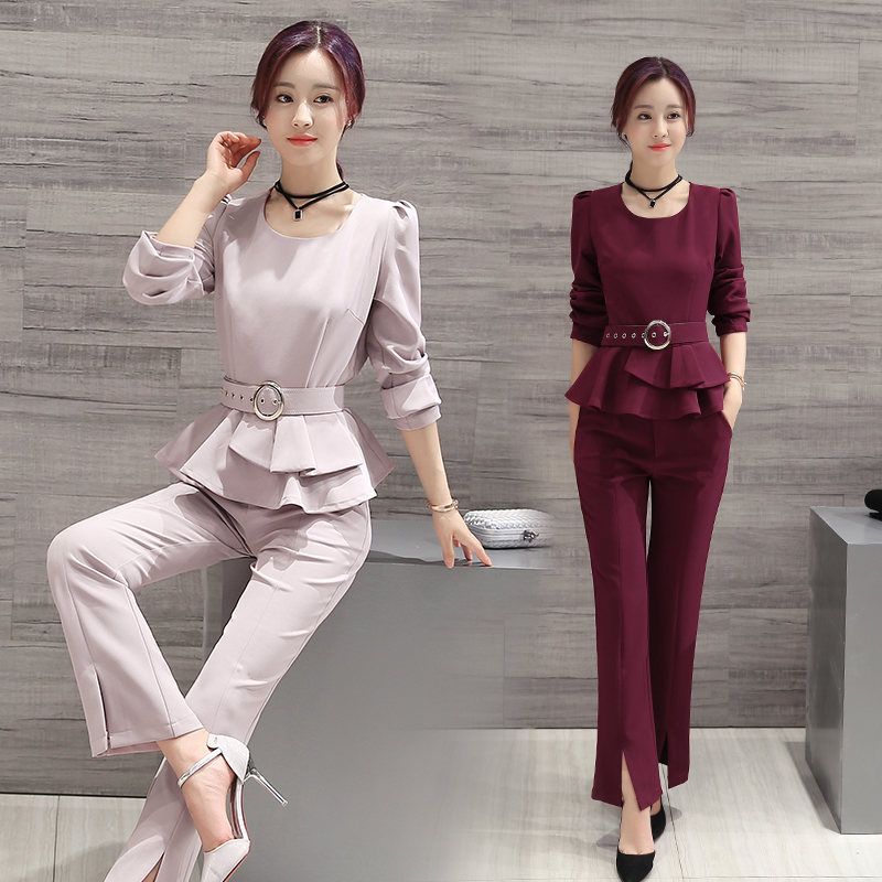 Office worker's office fashion wide-leg pants suit female 2019 spring new break