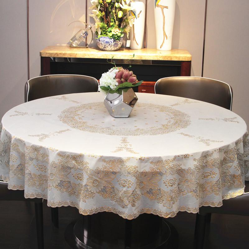 烫金圆桌布餐桌台布pvc防水防油防烫免洗欧式现代简约布艺酒饭店