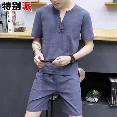 套装短袖t恤男潮修身韩版V领小衫薄款上衣服帅气夏季男装半袖体恤