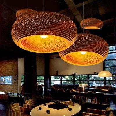 美式复古餐厅吊灯创意个性吧台咖啡厅瓦楞纸蜂窝裸蛹灯罩艺术吊灯品牌巨惠