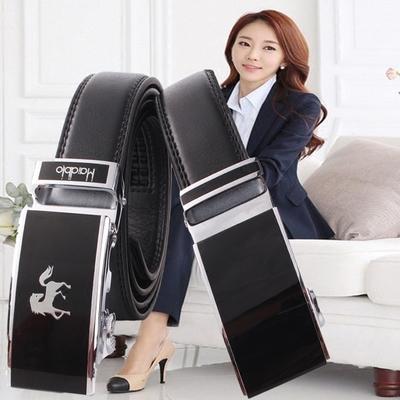 女士职业装皮带自动扣 3cm黑色真皮商务正装套装休闲简约细裤腰带