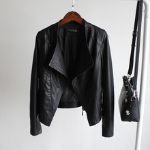 New style women's suit for autumn in 2019 with slim collar and short PU water-washed leather jacket