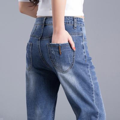 春秋2018新款萝卜牛仔裤女宽松小脚哈伦裤九分裤韩版显瘦加绒裤子
