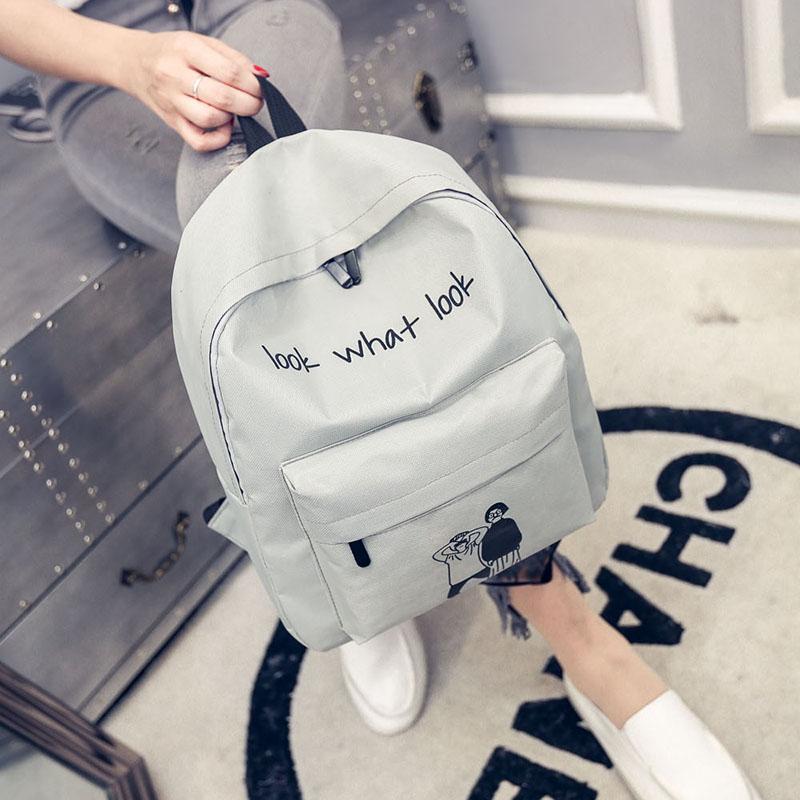 帆布双肩包女包日韩版潮高中学生书包女旅行背包校园学院风小清新