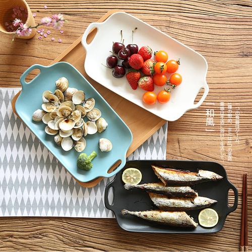 川岛屋 日式哑光釉双耳长方形盘双耳盘鱼盘水果盘陶瓷餐具PZ-30
