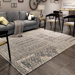众弘 地毯客厅欧美茶几毯 长方形家用编织地毯简约 沙发欧式拍摄