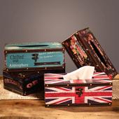 纸巾盒酒吧复古木质长方形抽纸盒咖啡厅创意桌面纸筒 欧美工业风格