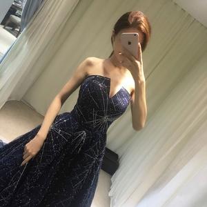 明星同款主持人订婚礼服长款显瘦气质优雅生日名媛宴会韩版蓬蓬裙