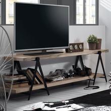 美式乡村电视柜实木客厅铁艺组合双层原木电视机柜隔板置物架落地