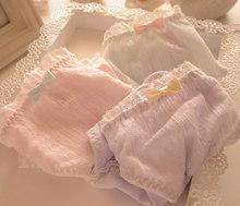 小清新系列棉蕾丝花朵荷叶渐变亮钻公主甜美女士内裤 蝴蝶结