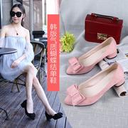 女土单鞋中跟初中生女鞋夏天高跟鞋细跟 性感 公主3厘米3公分粗跟