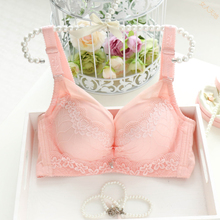 Bra thin section sexy deep V gather lace underwear to receive the milk less lady adjustable four-breasted bra summer