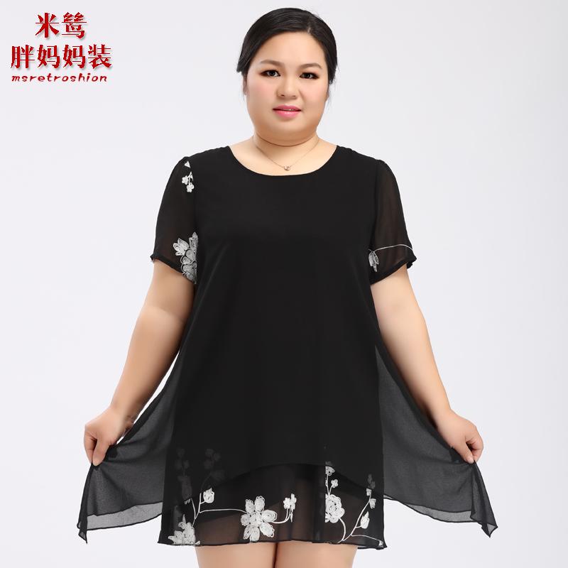 米鸶加大码女装200斤春夏胖妈妈宽松短袖上衣 加肥加大绣花雪纺衫