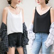 吊带背心女夏季宽松短款内搭外穿韩版港味t恤打底雪纺衫无袖上衣