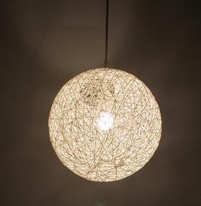 麻球吊灯 藤艺圆球编织现代简约书房卧室灯具个性创意鸟巢餐厅灯