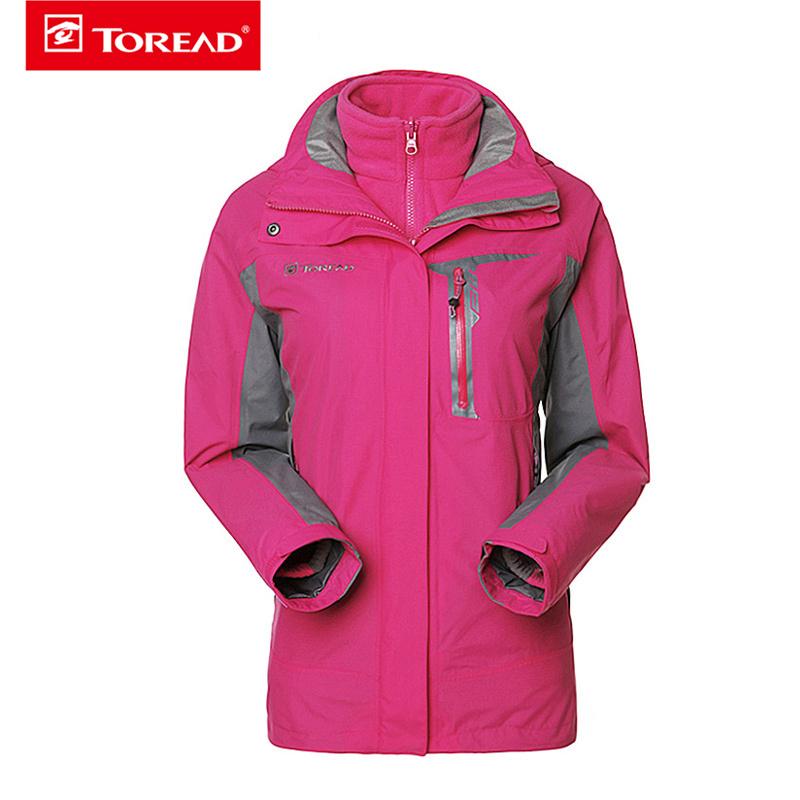 探路者冲锋衣女士套抓绒三合一户外防风防水保暖两件套
