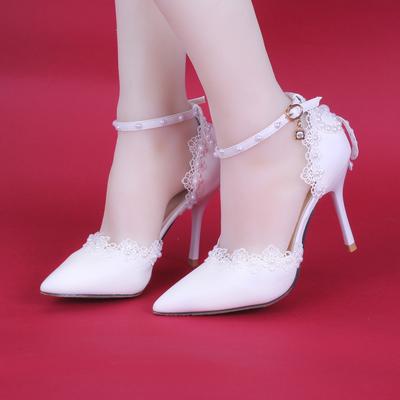 夏季高跟白色侧空蕾丝珍珠新娘鞋细跟尖头厚底拖鞋拍婚纱照女凉鞋