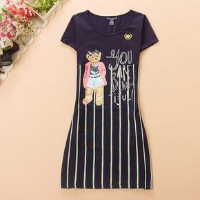 2017小熊维尼正品夏装新款显瘦少女装条纹圆领短袖连衣裙